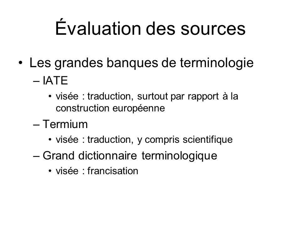 Évaluation des sources
