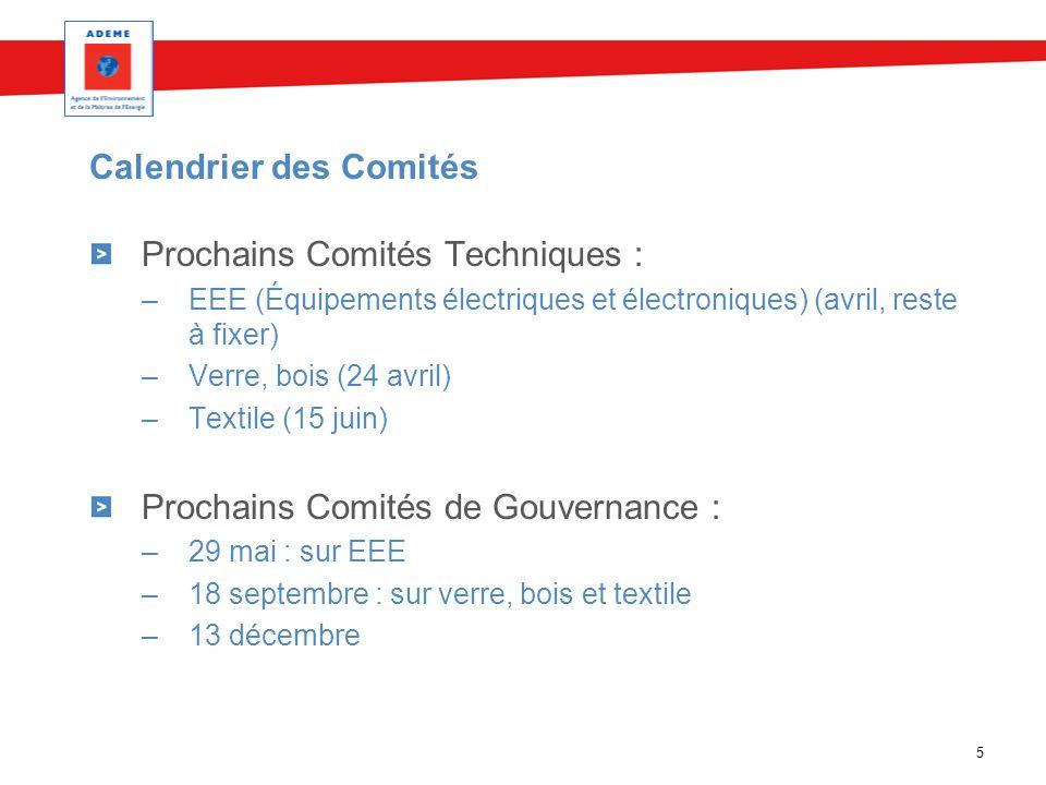 Calendrier des Comités