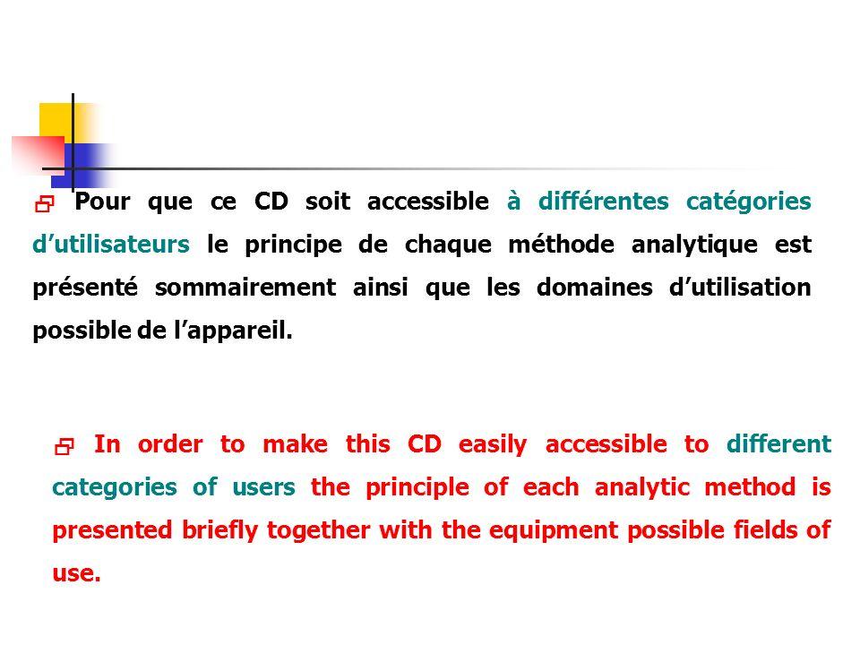  Pour que ce CD soit accessible à différentes catégories d'utilisateurs le principe de chaque méthode analytique est présenté sommairement ainsi que les domaines d'utilisation possible de l'appareil.