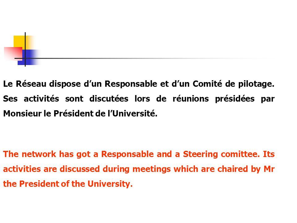 Le Réseau dispose d'un Responsable et d'un Comité de pilotage