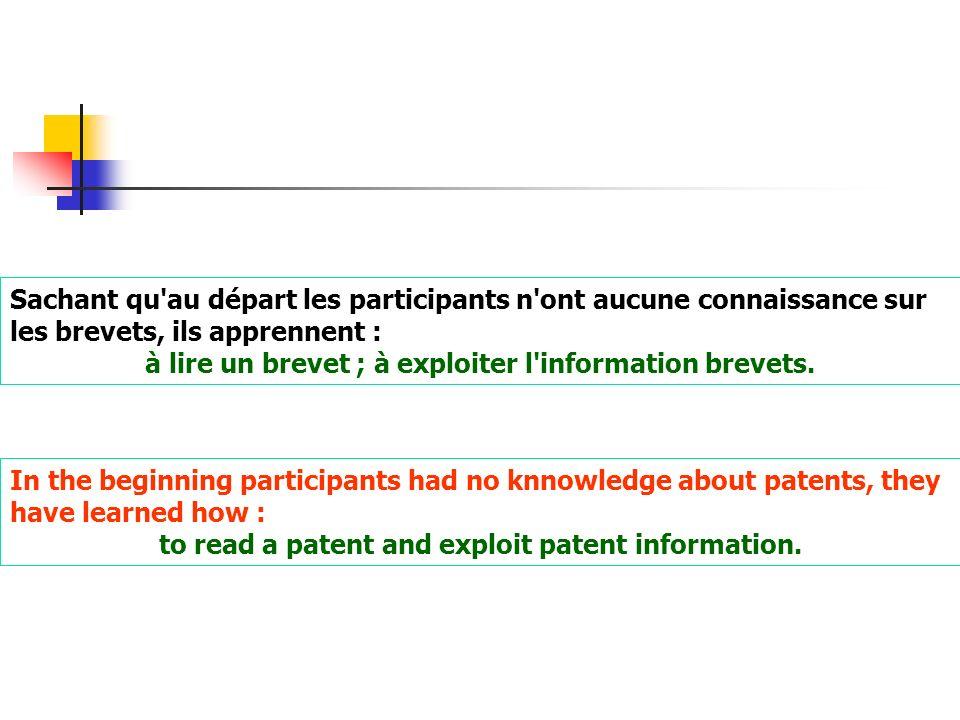 à lire un brevet ; à exploiter l information brevets.