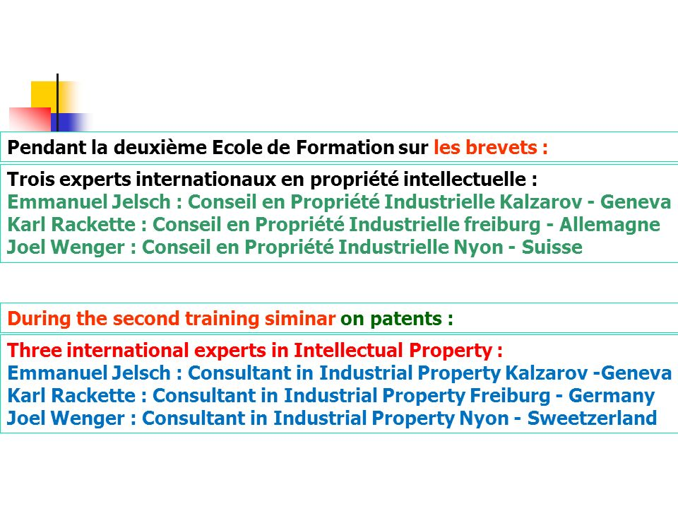 Pendant la deuxième Ecole de Formation sur les brevets :
