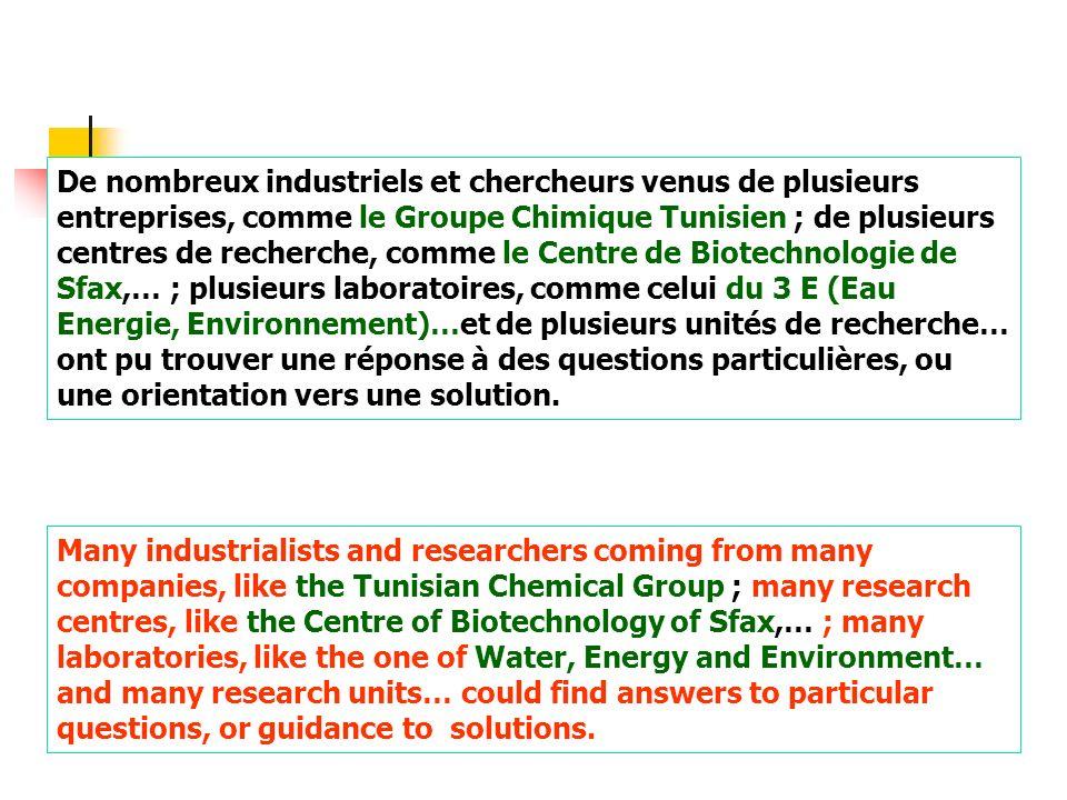 De nombreux industriels et chercheurs venus de plusieurs entreprises, comme le Groupe Chimique Tunisien ; de plusieurs centres de recherche, comme le Centre de Biotechnologie de Sfax,… ; plusieurs laboratoires, comme celui du 3 E (Eau Energie, Environnement)…et de plusieurs unités de recherche… ont pu trouver une réponse à des questions particulières, ou une orientation vers une solution.