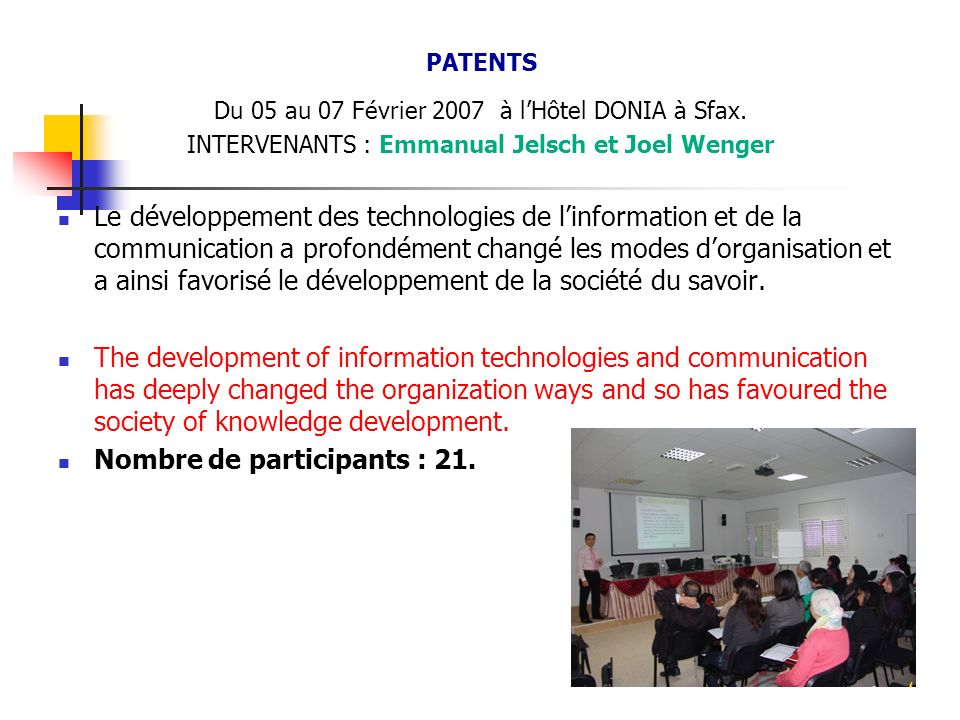 Nombre de participants : 21.