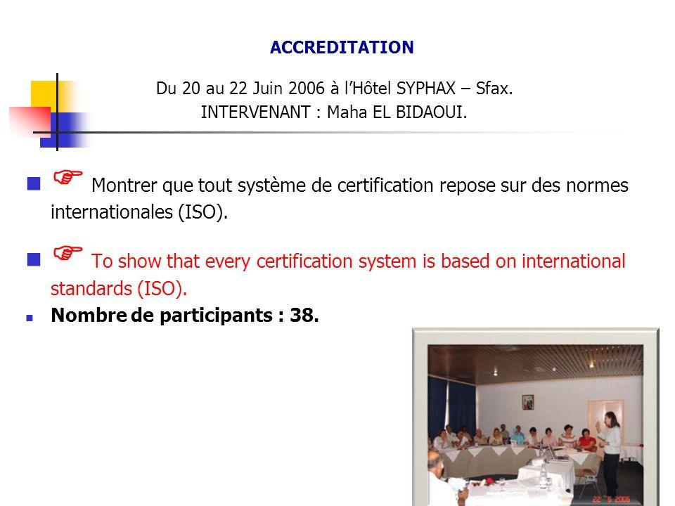 ACCREDITATION Du 20 au 22 Juin 2006 à l'Hôtel SYPHAX – Sfax. INTERVENANT : Maha EL BIDAOUI.
