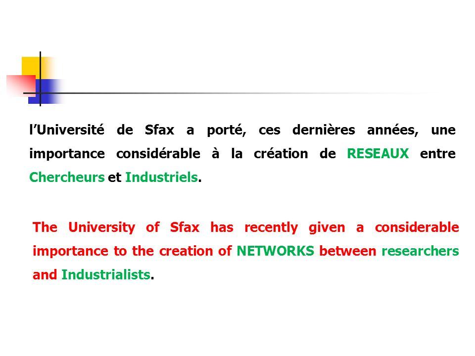 l'Université de Sfax a porté, ces dernières années, une importance considérable à la création de RESEAUX entre Chercheurs et Industriels.