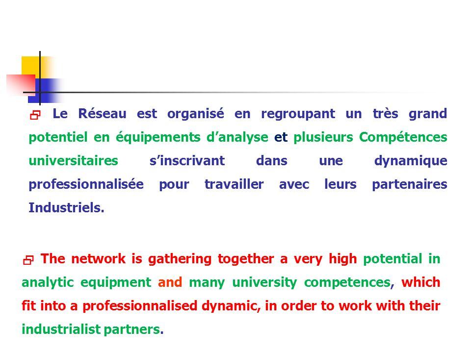  Le Réseau est organisé en regroupant un très grand potentiel en équipements d'analyse et plusieurs Compétences universitaires s'inscrivant dans une dynamique professionnalisée pour travailler avec leurs partenaires Industriels.