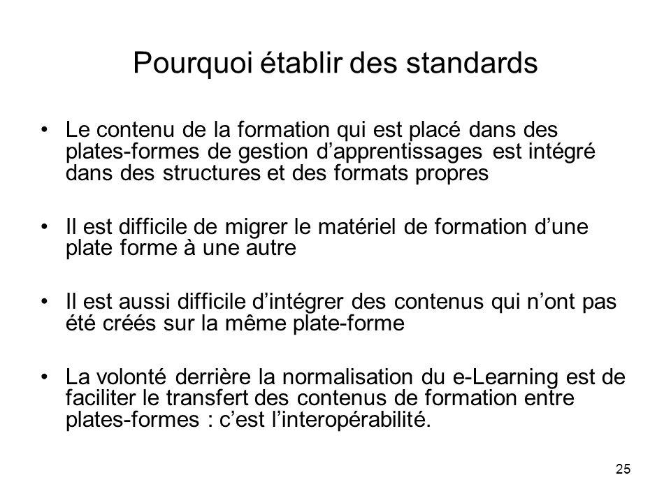 Pourquoi établir des standards