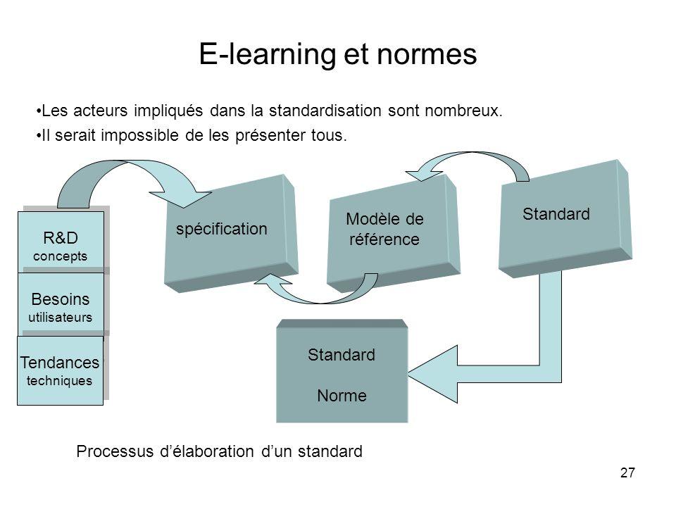 E-learning et normes Les acteurs impliqués dans la standardisation sont nombreux. Il serait impossible de les présenter tous.
