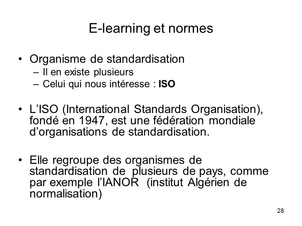 E-learning et normes Organisme de standardisation