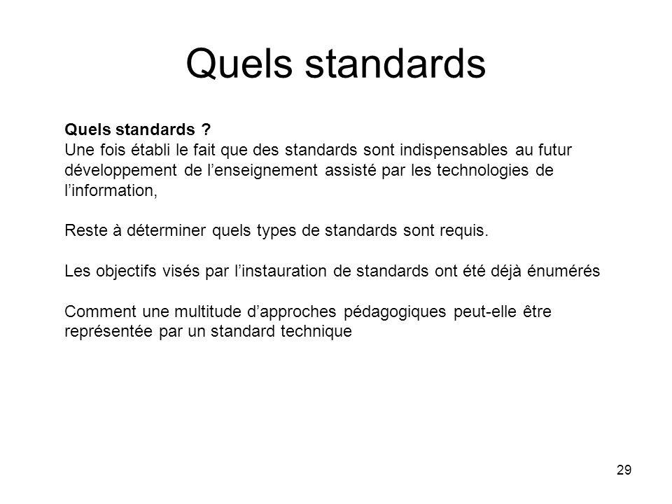 Quels standards Quels standards