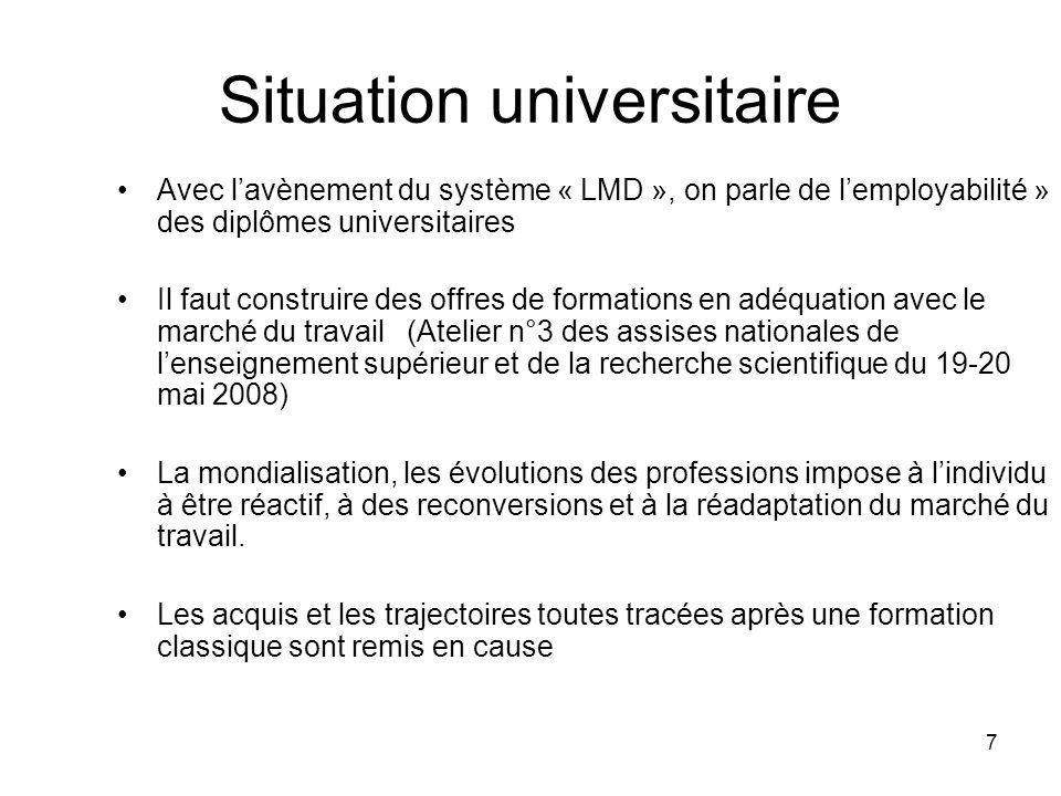 Situation universitaire
