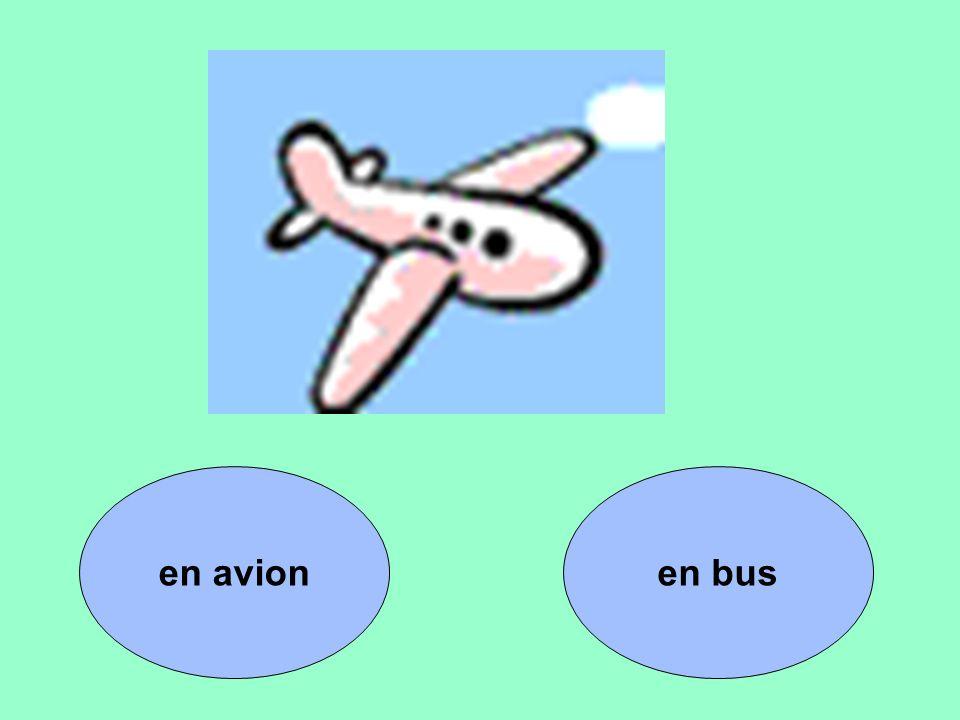 en avion en bus