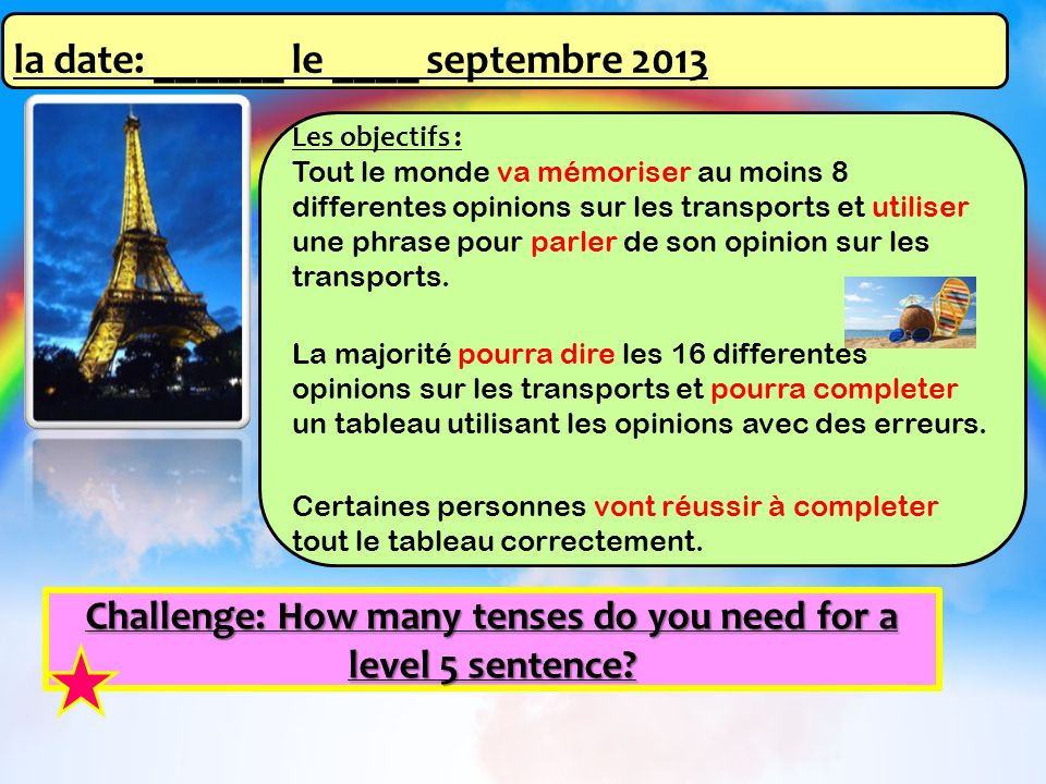 la date: ______ le ____ septembre 2013