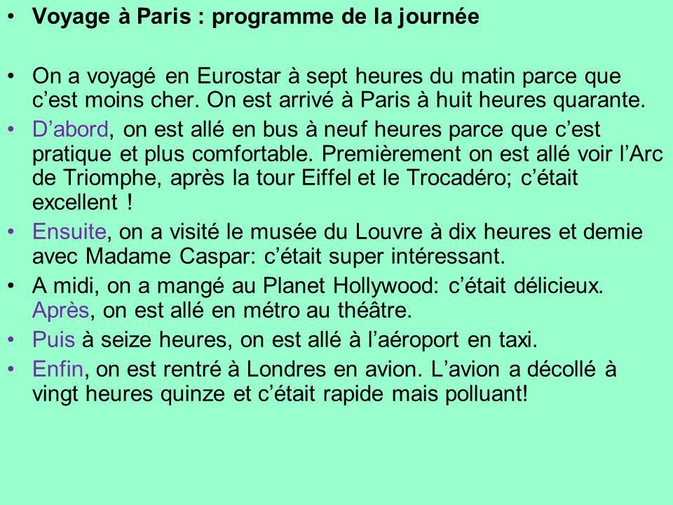 Voyage à Paris : programme de la journée