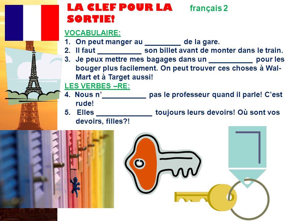 LA CLEF POUR LA SORTIE! français 2 VOCABULAIRE: