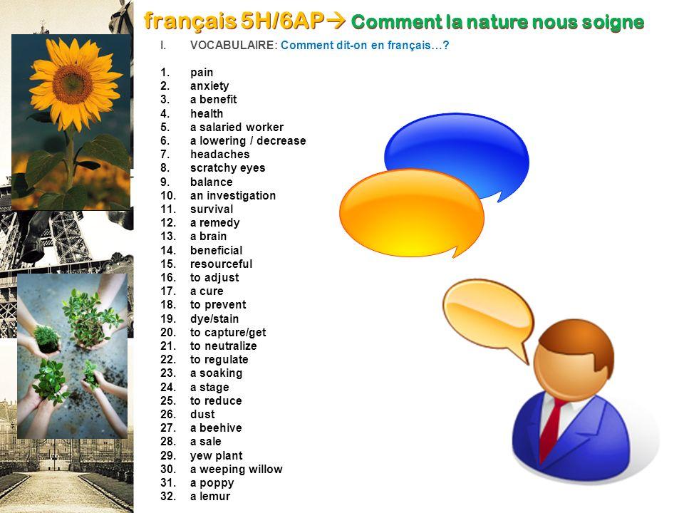français 5H/6AP Comment la nature nous soigne
