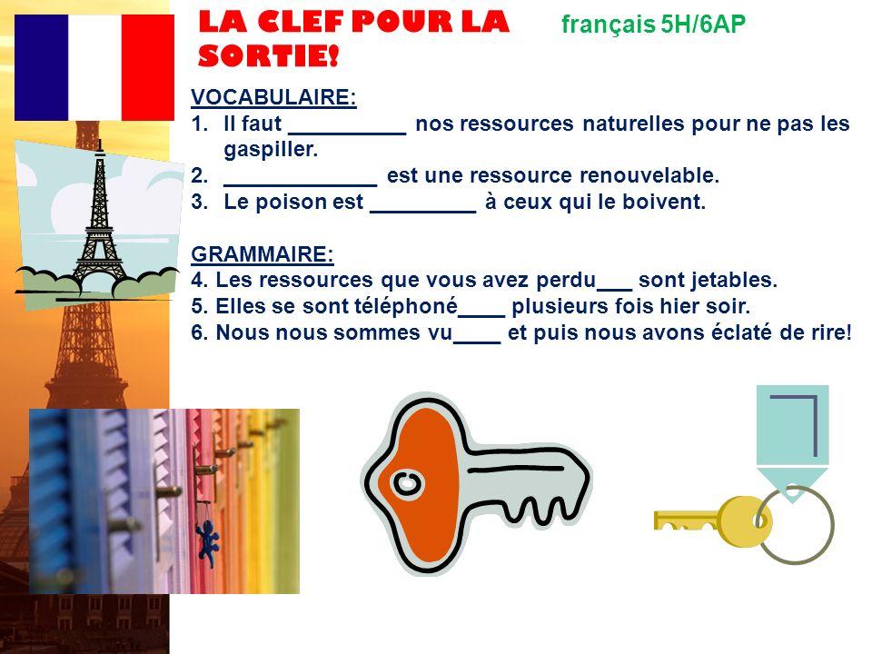 LA CLEF POUR LA SORTIE! français 5H/6AP VOCABULAIRE: