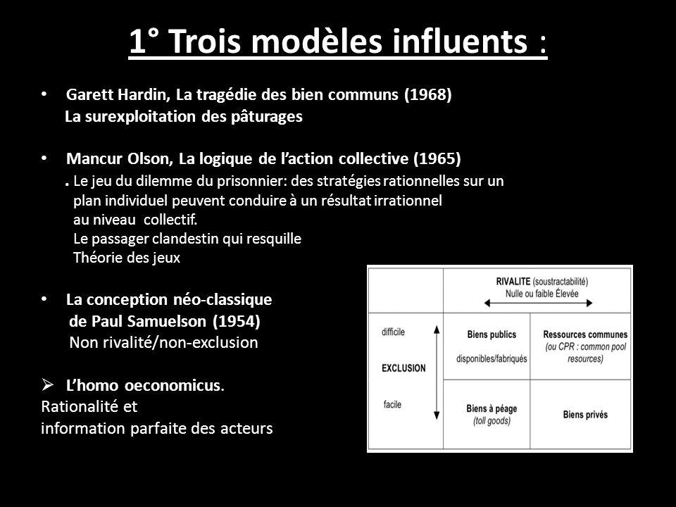 1° Trois modèles influents :