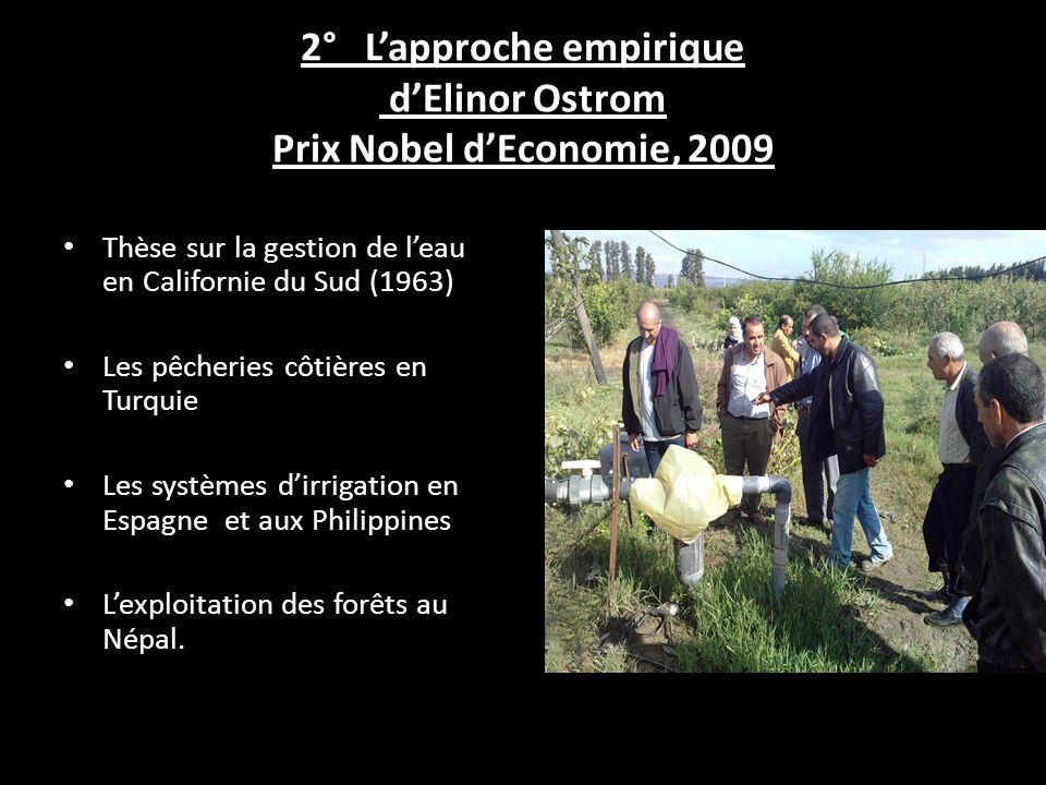 2° L'approche empirique d'Elinor Ostrom Prix Nobel d'Economie, 2009