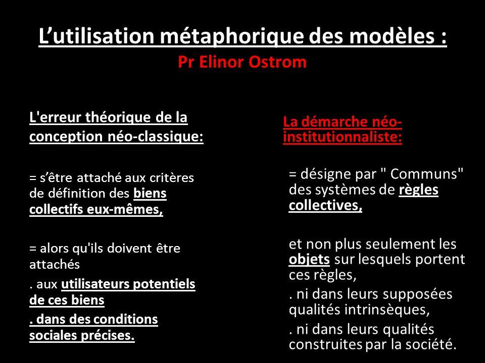 L'utilisation métaphorique des modèles : Pr Elinor Ostrom