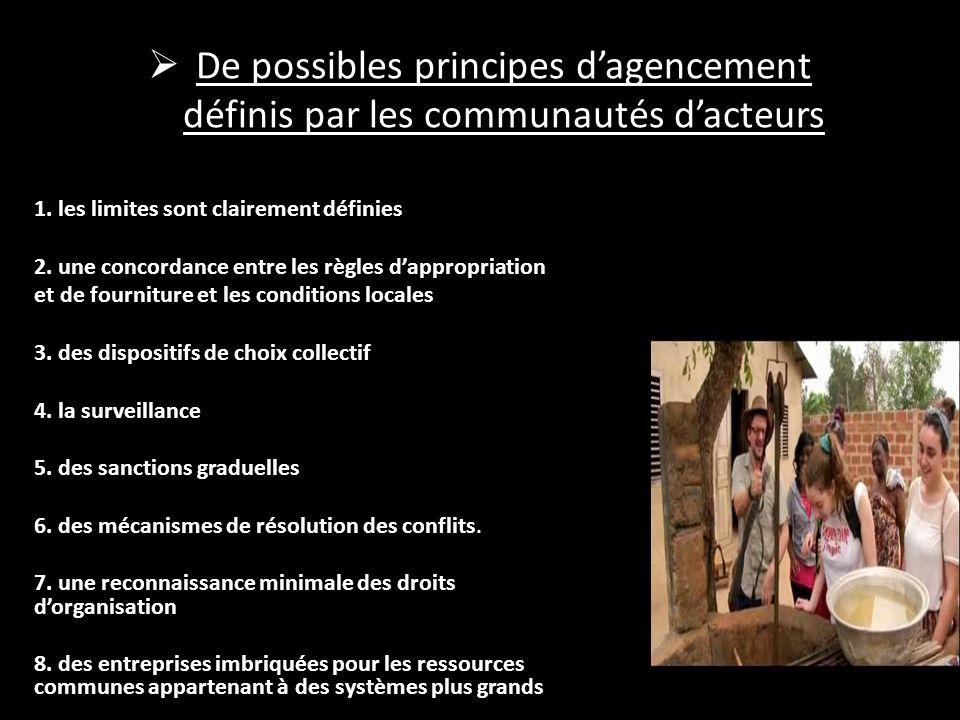 De possibles principes d'agencement définis par les communautés d'acteurs