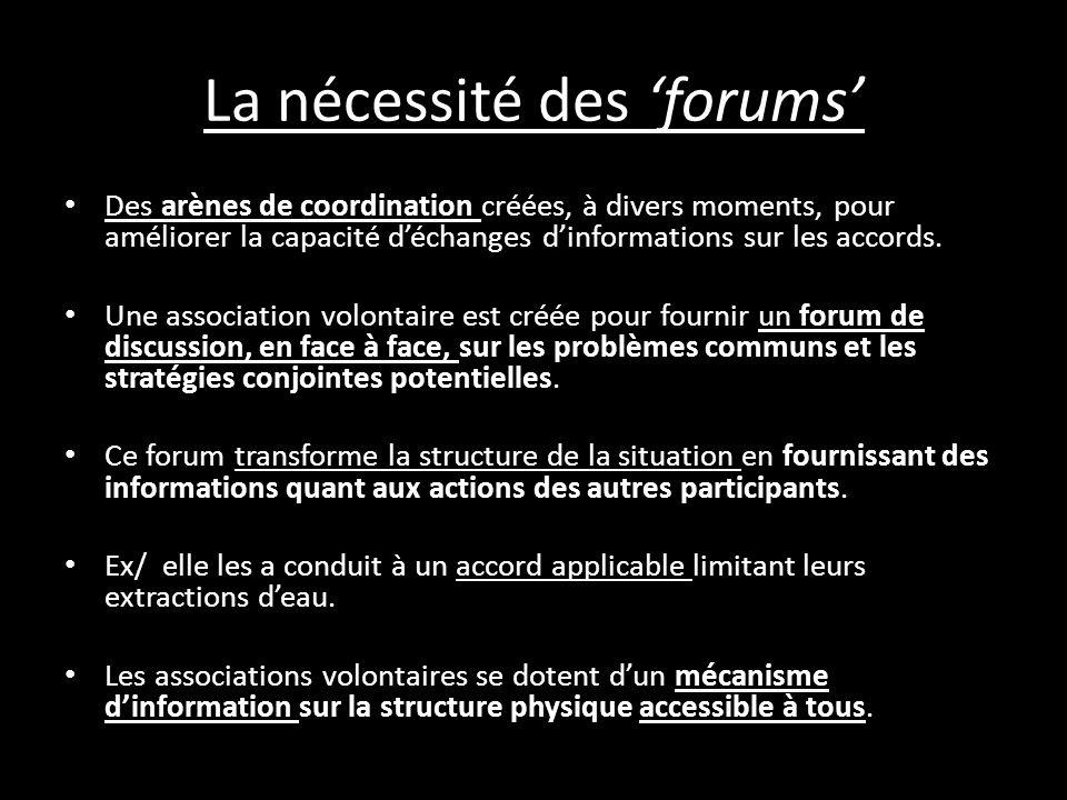 La nécessité des 'forums'