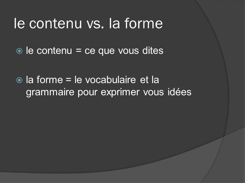 le contenu vs. la forme le contenu = ce que vous dites