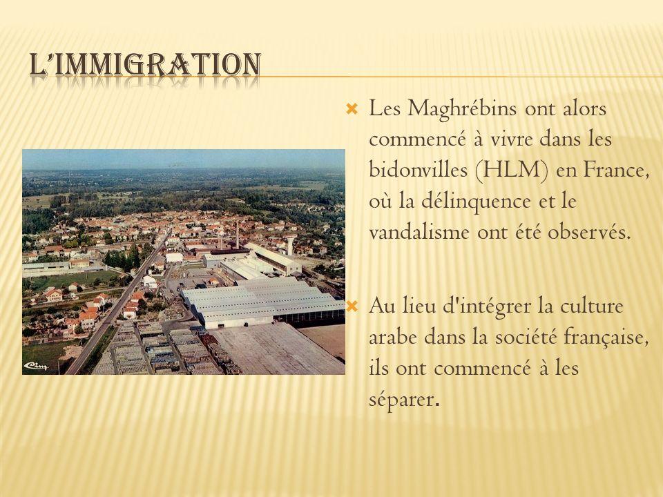 L'immigration Les Maghrébins ont alors commencé à vivre dans les bidonvilles (HLM) en France, où la délinquence et le vandalisme ont été observés.