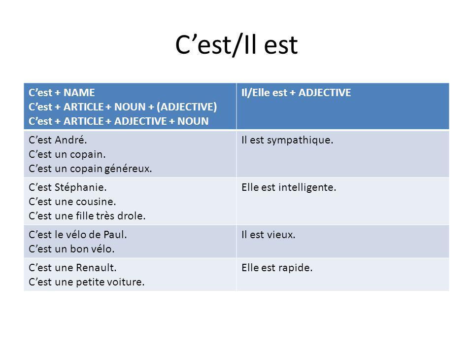 C'est/Il est C'est + NAME C'est + ARTICLE + NOUN + (ADJECTIVE)