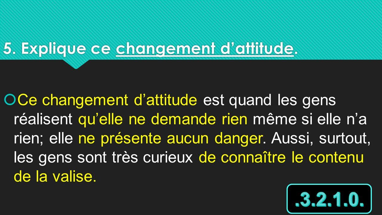 5. Explique ce changement d'attitude.