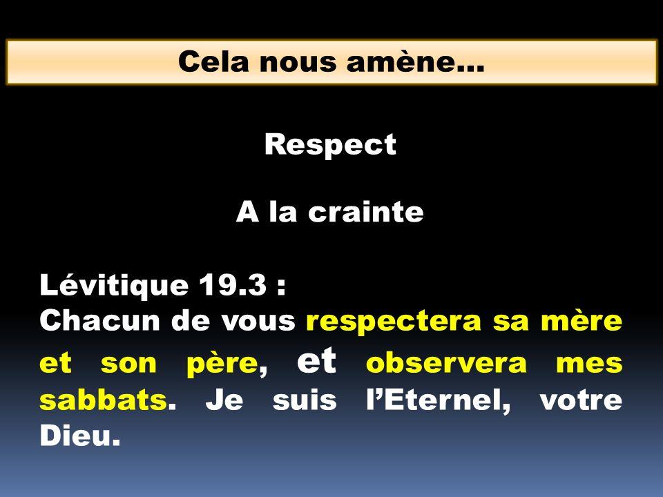 Cela nous amène… Respect. A la crainte. Lévitique 19.3 :
