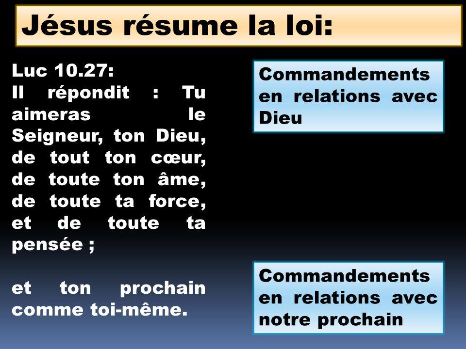 Jésus résume la loi: Luc 10.27: Commandements en relations avec Dieu