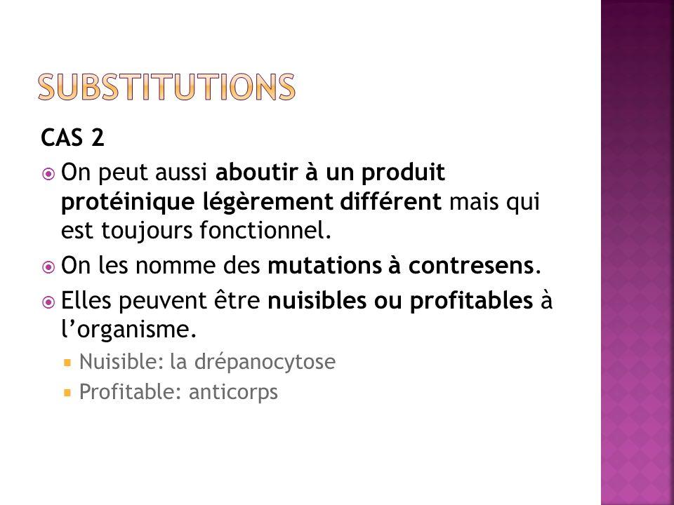 substitutions CAS 2. On peut aussi aboutir à un produit protéinique légèrement différent mais qui est toujours fonctionnel.