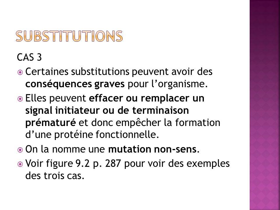 substitutions CAS 3. Certaines substitutions peuvent avoir des conséquences graves pour l'organisme.