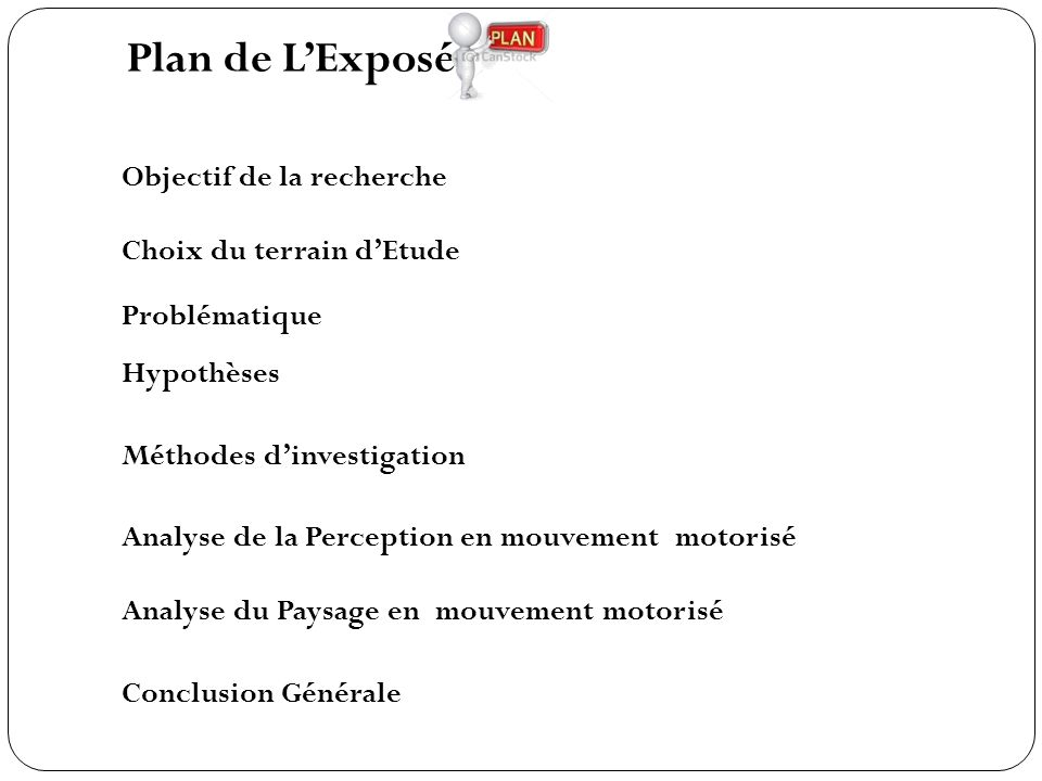 Plan de L'Exposé Objectif de la recherche Choix du terrain d'Etude