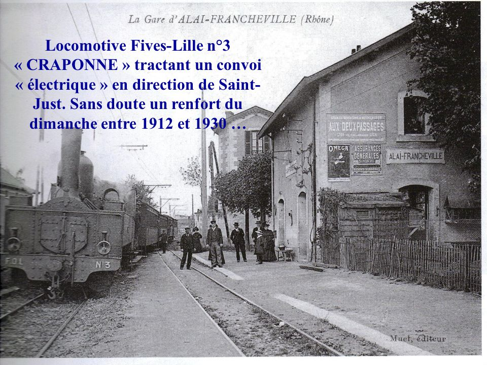 Locomotive Fives-Lille n°3 « CRAPONNE » tractant un convoi « électrique » en direction de Saint-Just.