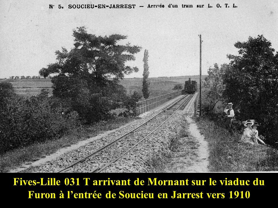 Fives-Lille 031 T arrivant de Mornant sur le viaduc du Furon à l'entrée de Soucieu en Jarrest vers 1910