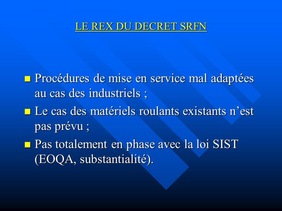 Procédures de mise en service mal adaptées au cas des industriels ;