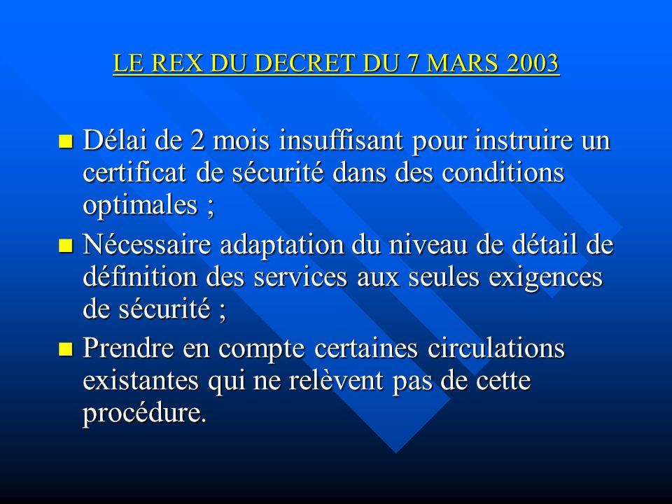 LE REX DU DECRET DU 7 MARS 2003 Délai de 2 mois insuffisant pour instruire un certificat de sécurité dans des conditions optimales ;