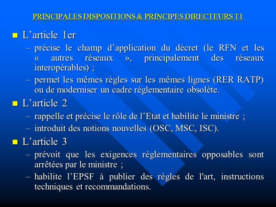 PRINCIPALES DISPOSITIONS & PRINCIPES DIRECTEURS T1