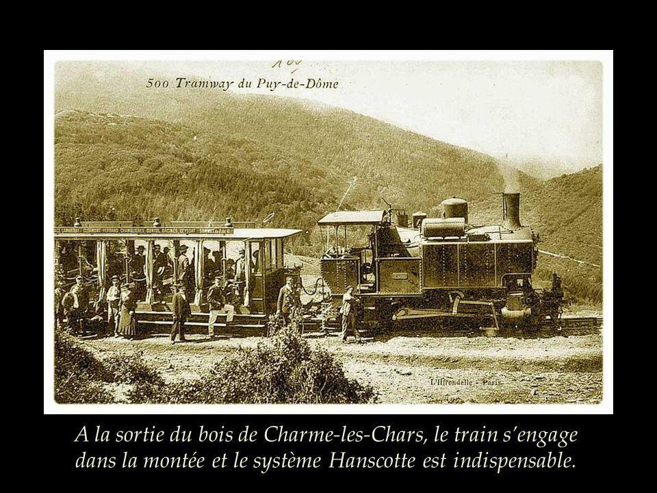 A la sortie du bois de Charme-les-Chars, le train s'engage dans la montée et le système Hanscotte est indispensable.