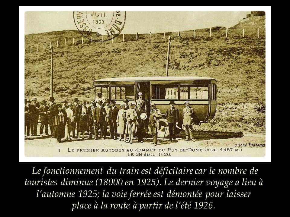 Le fonctionnement du train est déficitaire car le nombre de touristes diminue (18000 en 1925).