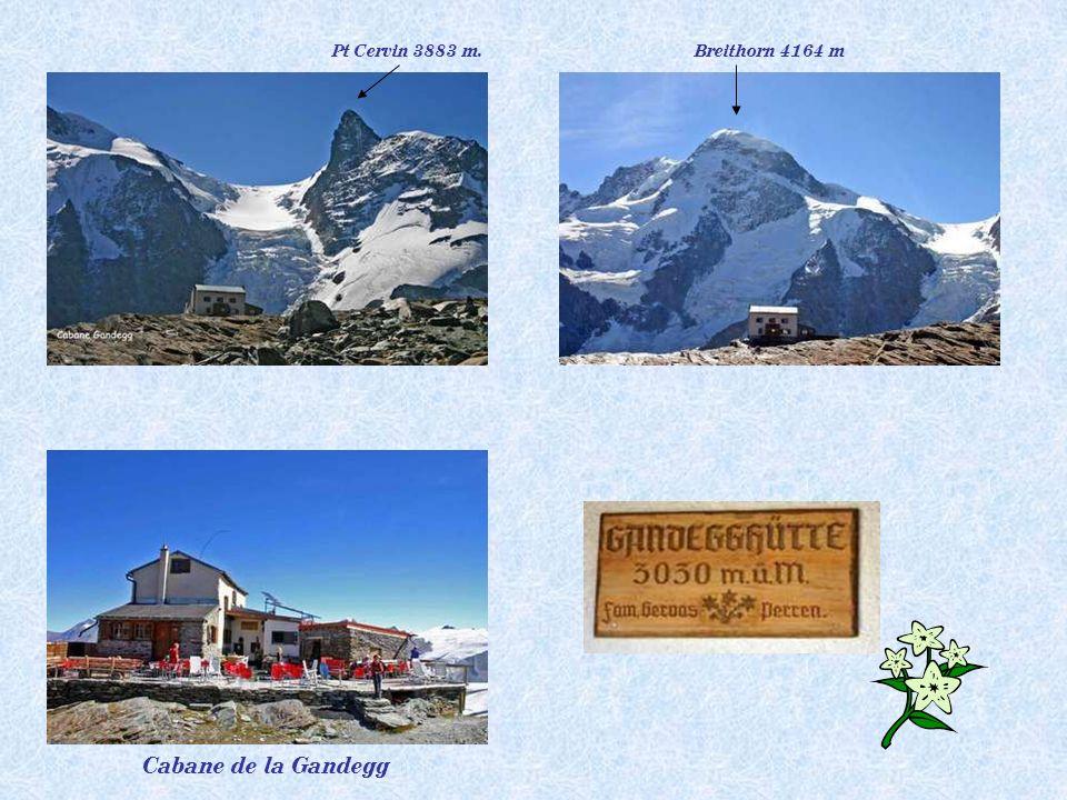 Pt Cervin 3883 m. Breithorn 4164 m Cabane de la Gandegg