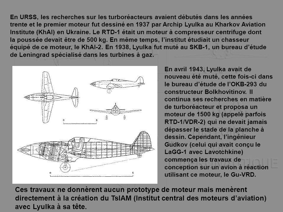 En URSS, les recherches sur les turboréacteurs avaient débutés dans les années trente et le premier moteur fut dessiné en 1937 par Archip Lyulka au Kharkov Aviation Institute (KhAI) en Ukraine. Le RTD-1 était un moteur à compresseur centrifuge dont la poussée devait être de 500 kg. En même temps, l'institut étudiait un chasseur équipé de ce moteur, le KhAI-2. En 1938, Lyulka fut muté au SKB-1, un bureau d'étude de Leningrad spécialisé dans les turbines à gaz.