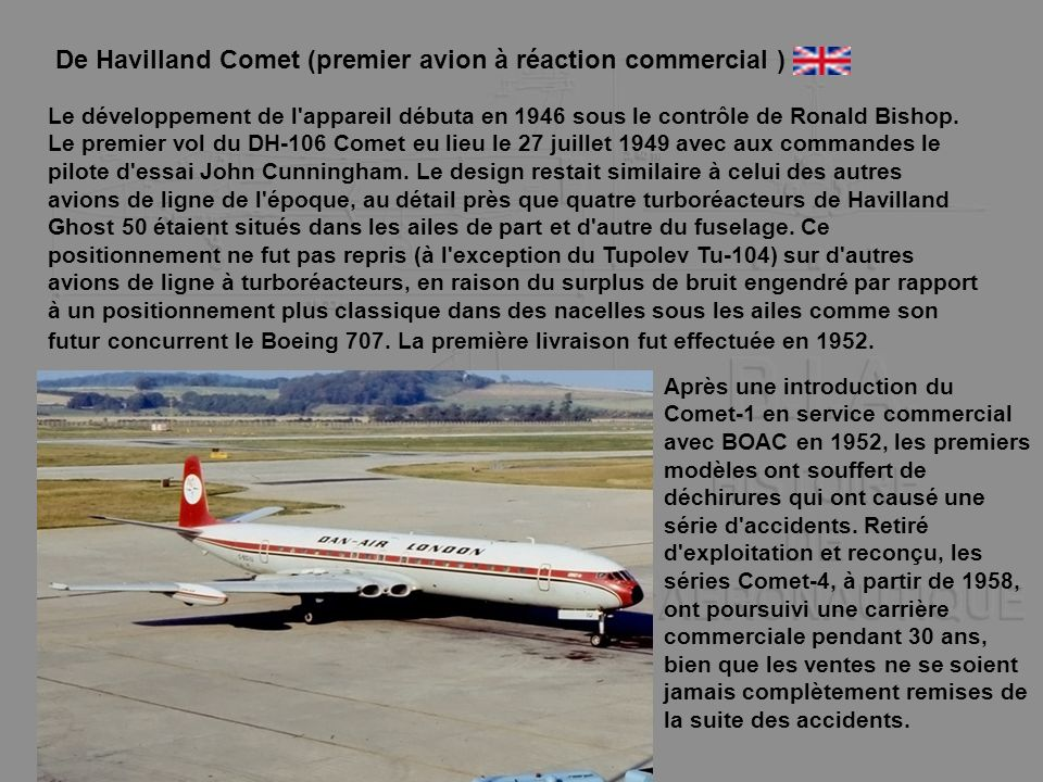 De Havilland Comet (premier avion à réaction commercial )