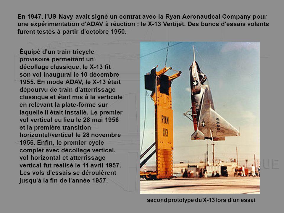 En 1947, l US Navy avait signé un contrat avec la Ryan Aeronautical Company pour une expérimentation d ADAV à réaction : le X-13 Vertijet. Des bancs d essais volants furent testés à partir d octobre 1950.