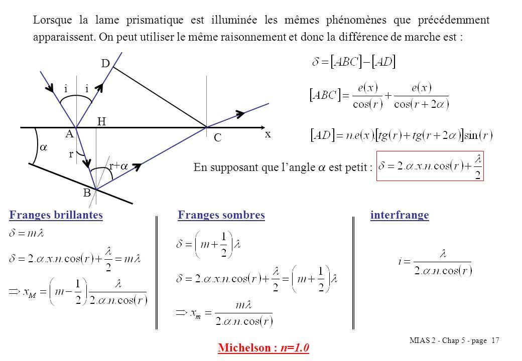 Lorsque la lame prismatique est illuminée les mêmes phénomènes que précédemment apparaissent. On peut utiliser le même raisonnement et donc la différence de marche est :