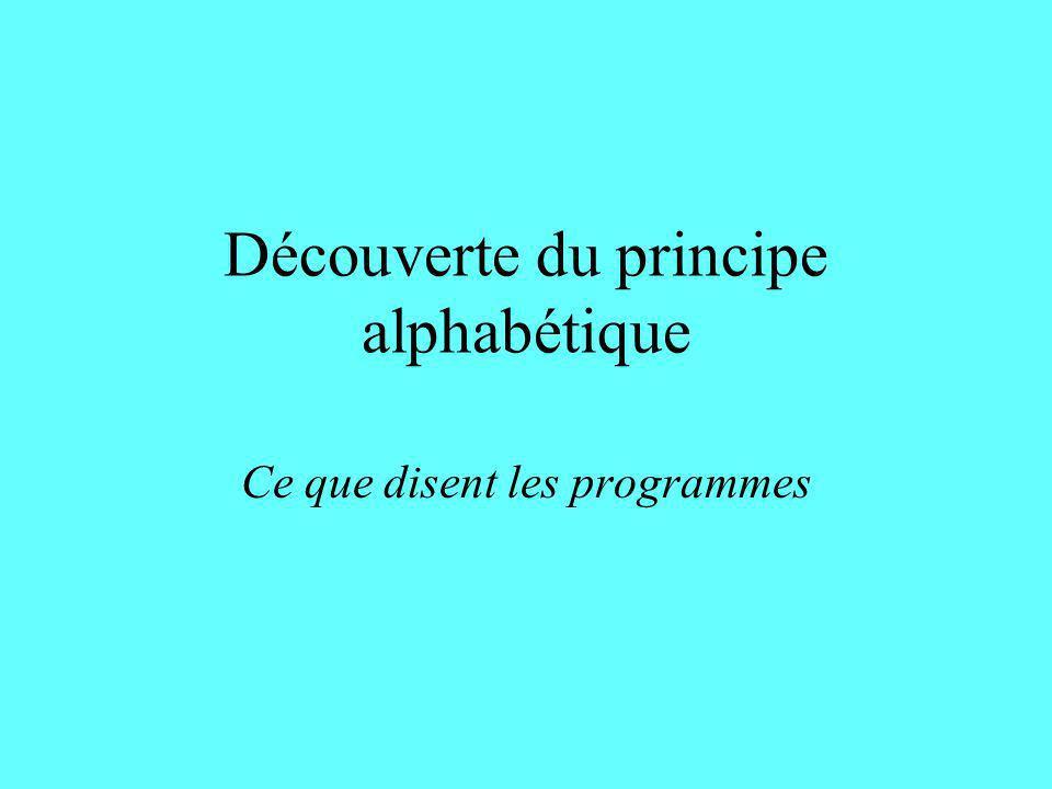 Découverte du principe alphabétique