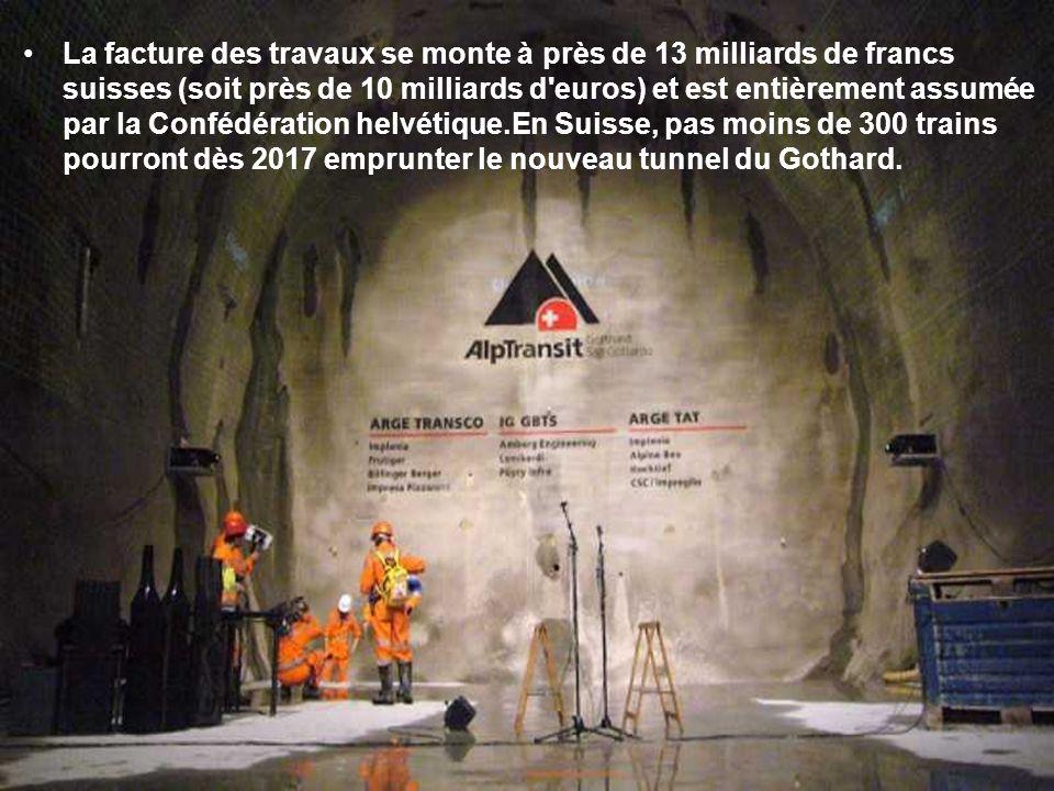 La facture des travaux se monte à près de 13 milliards de francs suisses (soit près de 10 milliards d euros) et est entièrement assumée par la Confédération helvétique.En Suisse, pas moins de 300 trains pourront dès 2017 emprunter le nouveau tunnel du Gothard.